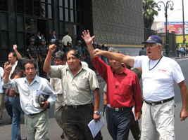 Dirigentes tras reunión con el Poder judicial