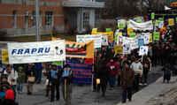 Dans la rue pour le droit au logement in Gatineau, QUEBEC, december 2009