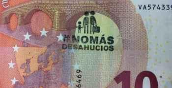 España, La PAH marca los billetes para mentalizar contra los desahucios