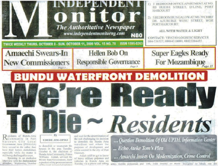 report bundu waterfront genocide port harcourt october 2009 jpg